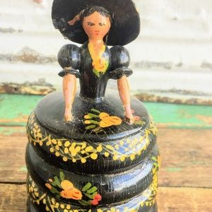 Antique Folk Art Wood Wooden Trinket Box Lady